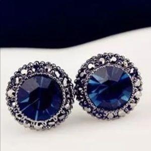 Blue Rhinestone Antiqued Metal Post Earrings NWT
